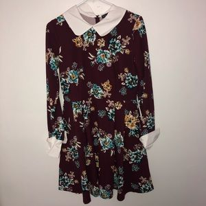 Smak Parlour Maroon Floral Collared Dress